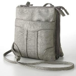 Croft & Barrow Multi-compartment Crossbody Bag, Womens, Grey