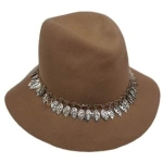 Hatch Womens Metal Chain/ Leaves Wool Felt Fedora Hat
