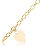 Heart Charm Bracelet In 14 Karat Yellow Gold