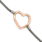 Stainless Steel And Rose Tone Plated Heart Adjustable Bracelet