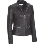 Wilsons Leather Wilsons Leather Womens Center Zip Vintage Leather Jacket W/ Knit Inset