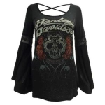Harley-Davidson Harley-Davidson Womens Embellished Rose Skull Long Sleeve Shirt, Black