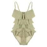 Michael Kors Bandeau Ruffled One-Piece Swimsuit