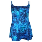 Longitude Womens 1 Piece Swimdress Swimsuit 10-18 Blue Rain